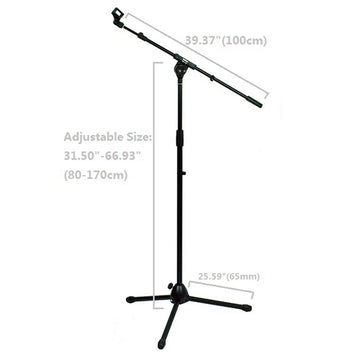 Floor Microphone Stand Stage Studio Tripod Arm Mount Boom Adjustable Metal with Clip Conference KTV