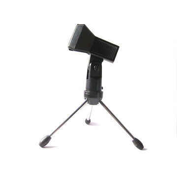 Desk Top Tripod Microphone Stand Spring Clip Holder Table Semi Flat Podium Phone