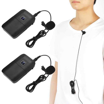 E8 Portable Wireless VHF Mic Lapel Clip Microphone with Receiver Transmitter