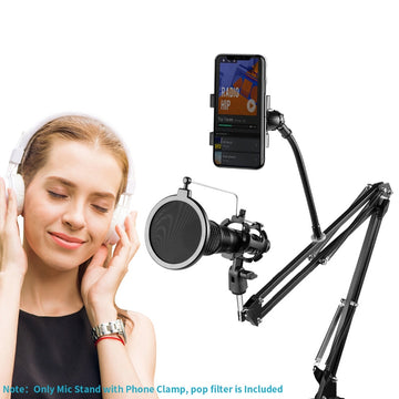 Adjustable Recording Microphone Suspension Boom Scissor Arm Stand+Mic Wind Pop Filter+Shock Mount+Phone Holder Black