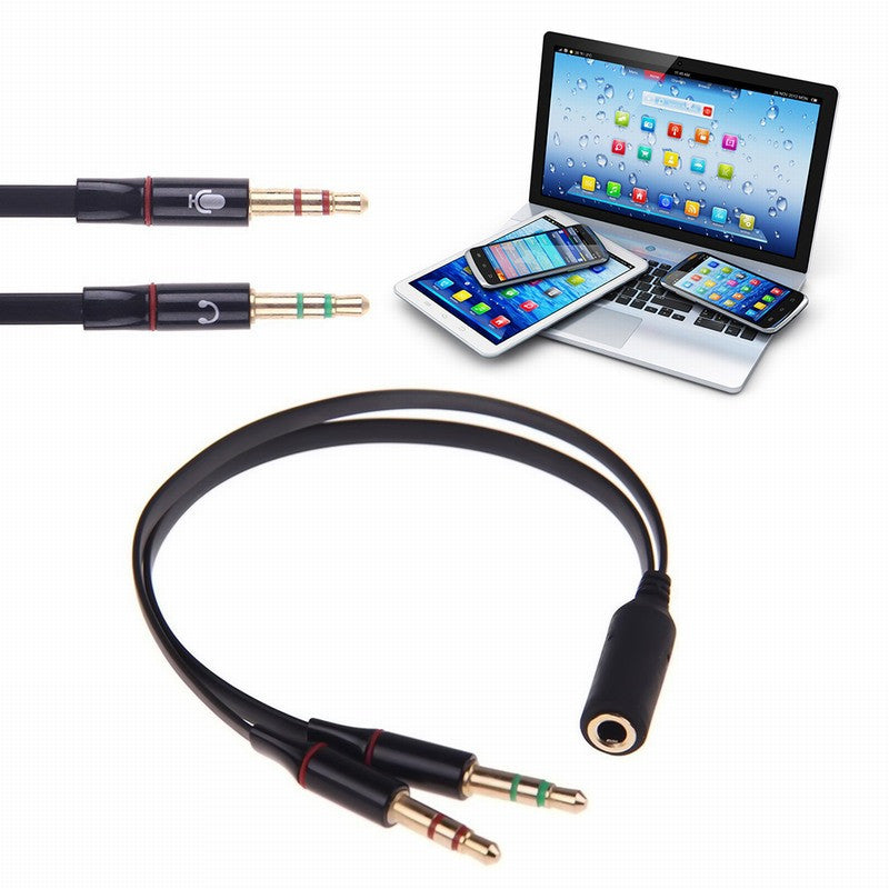 3.5mm AUX Audio Mic Y Splitter Cable Headphone Adapter Female To 2 Male cables For PC Computer notebook Accessories