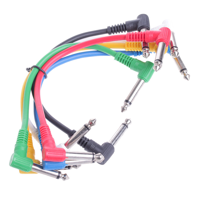 6Pcs Guitar Cable Colorful Angled Plug Audio Leads Patch Cables For Guitar Pedal Effect