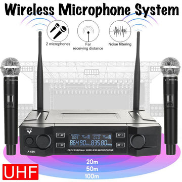A-666 UHF Wireless Microphone System 2 Channel 2 Cordless Handheld Mic Kraoke Speech Party Supplies Cardioid Professional