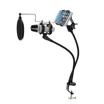 Microphone Suspension Boom Arm Stand Mount Set Support Recording MV for iPhone Phone with Clip 3-in-1 Angle Adjustment 360° Swivel Holder Samsung Pro