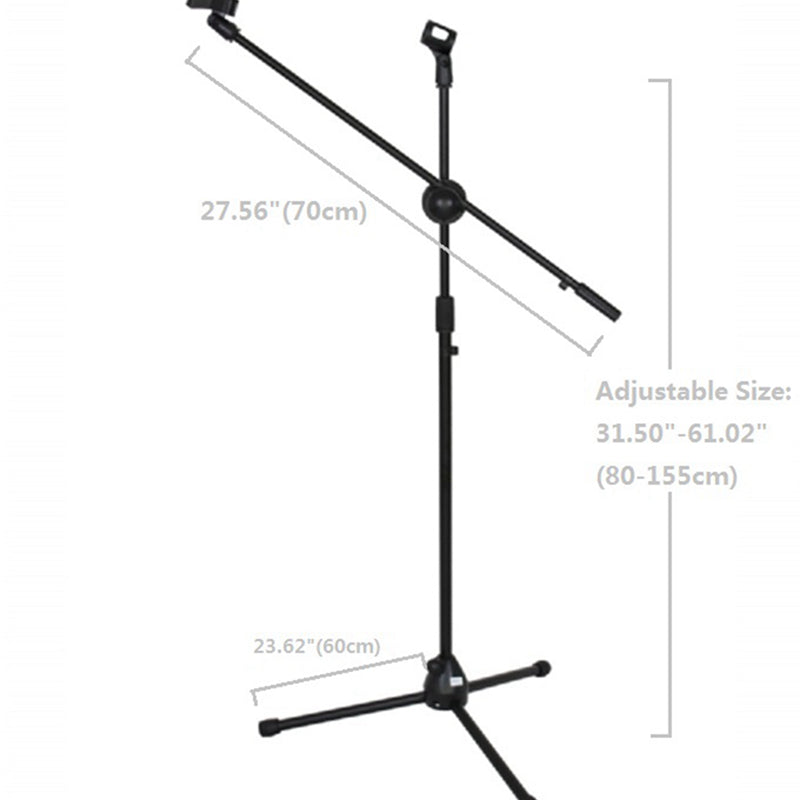 Floor Microphone Stand Tripod Arm Mount Shock Adjustable Metal with Clip Holder Conference KTV