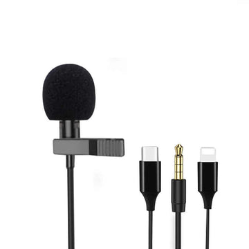 Lavalier Mini Microphone Condenser Clip-on Lapel for ios Android Phone Tablet Recording Omnidirectional Microfono Condensador Mikrofon колонка
