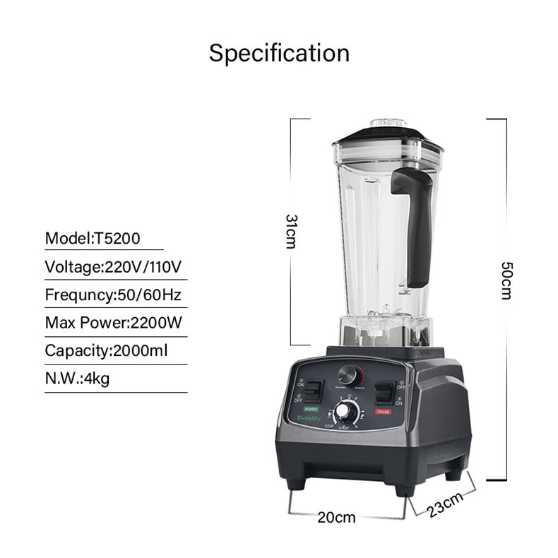 Timer Blender Mixer Juicer 3HP 2200W Heavy Duty Commercial Grade Fruit Food Processor Ice Smoothies BPA Free 2L Jar