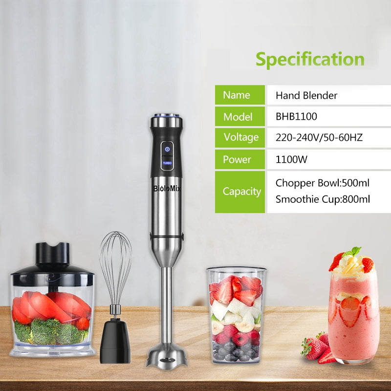 1100W 4-in-1 Stainless Steel Immersion Hand Stick Blender Mixer Vegetable Meat Grinder 500ml Chopper Whisk 800ml Smoothie Cup