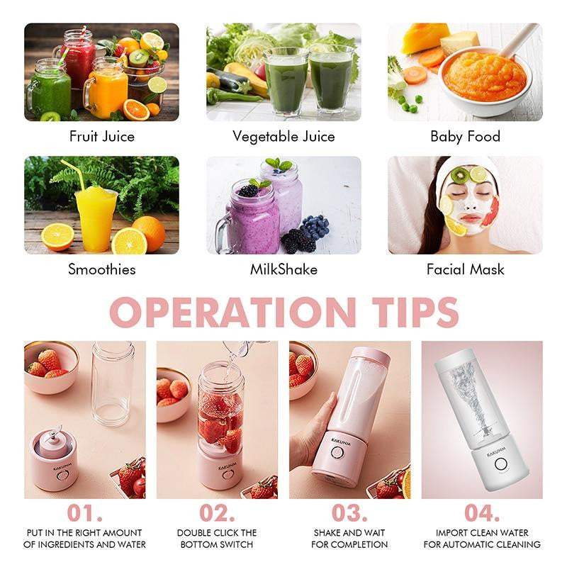 Portable Juicer Orange USB Electric Mini Mixer Fruit Smoothie Blender for Machine Personal Food Processor Maker Juice Extractor
