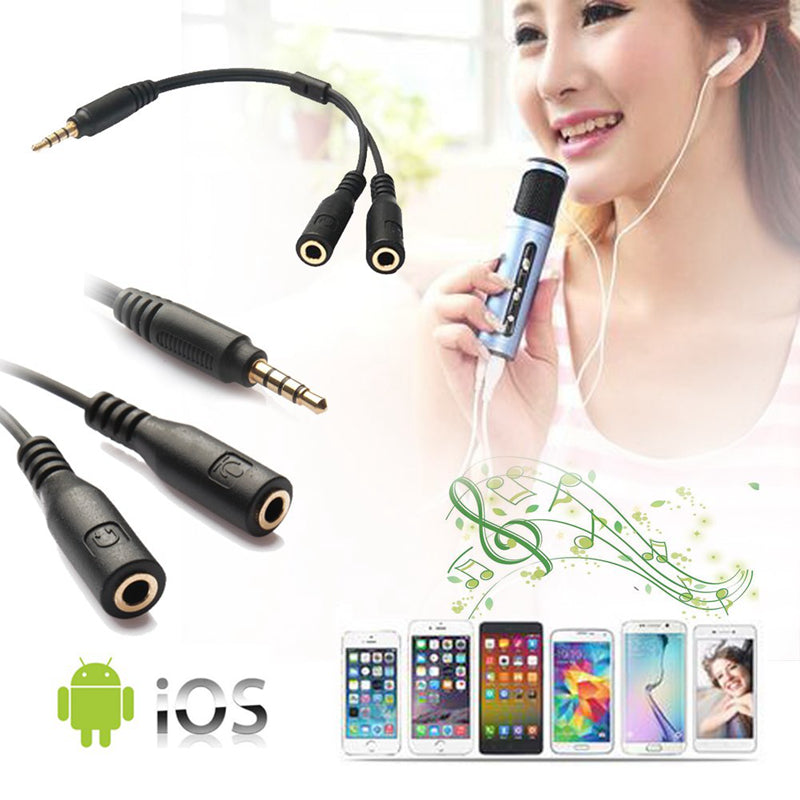 1 in 2 3.5mm Stereo Audio Male to 2 Female Headset Mic Y Splitter Earphone Cable Adapter for Iphone Android Headphone Converter Two 3-Pole TRS 4-Pole TRRS