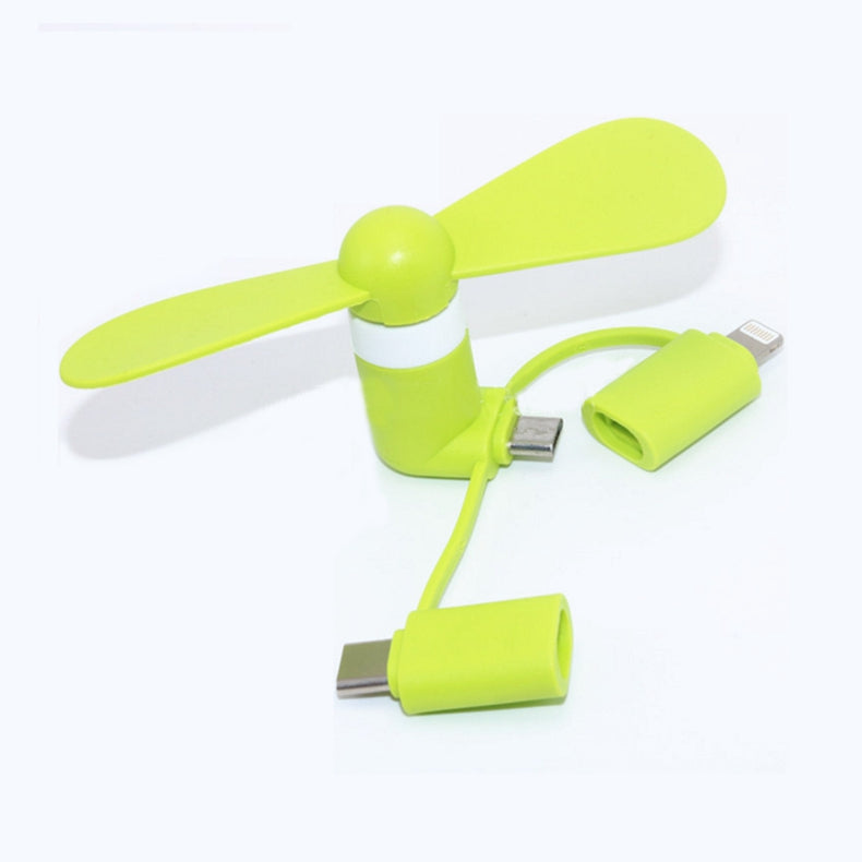 3 in 1 Travel Portable Cell Phone Mini Fan Cooler for Micro USB C For iPhone 5 6 6S 7 Plus 8 X for Android Type-c Cooling