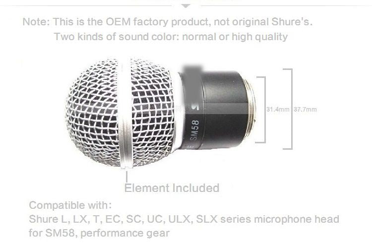Replacement Quality Sound Legend Vocal Microphone Wireless SM58 Cartridge RPW112 with Housing Assembly and Matte Grille Head