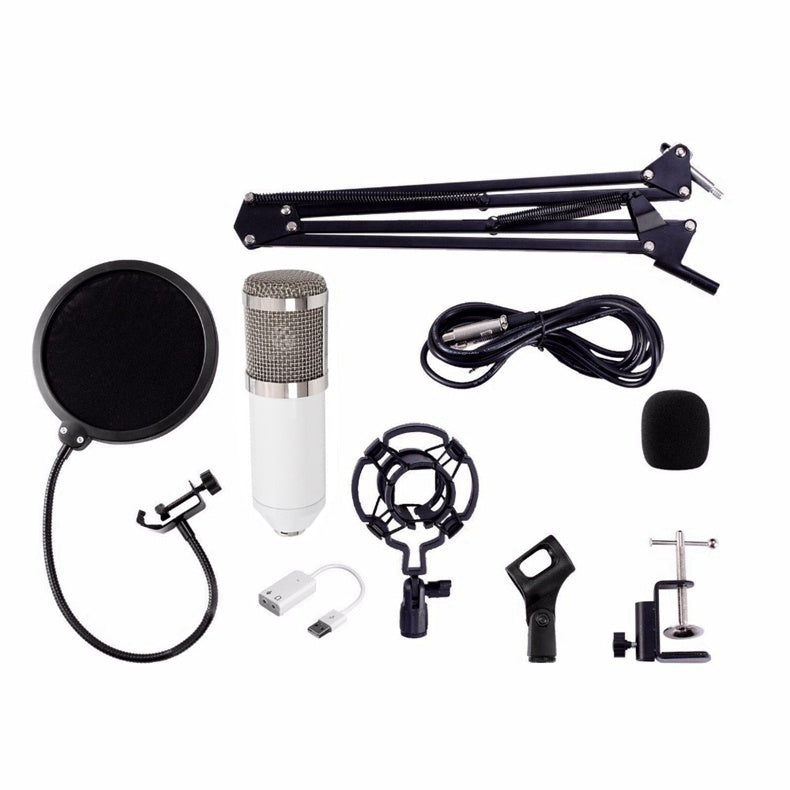 Professional Condenser Audio 3.5mm Wired BM800 Studio Microphone Vocal Recording KTV Karaoke with Stand for Computer
