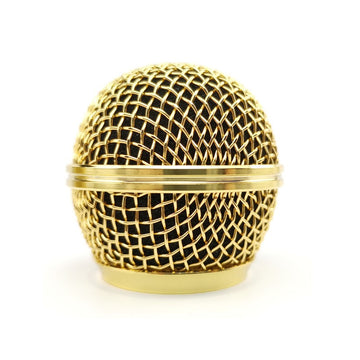 Relacement Polished Gold Mesh Grille Ball Metal Ball for SM58 SM58s 58SK Beta58 Microphone Accessories Electroplating Gold Color