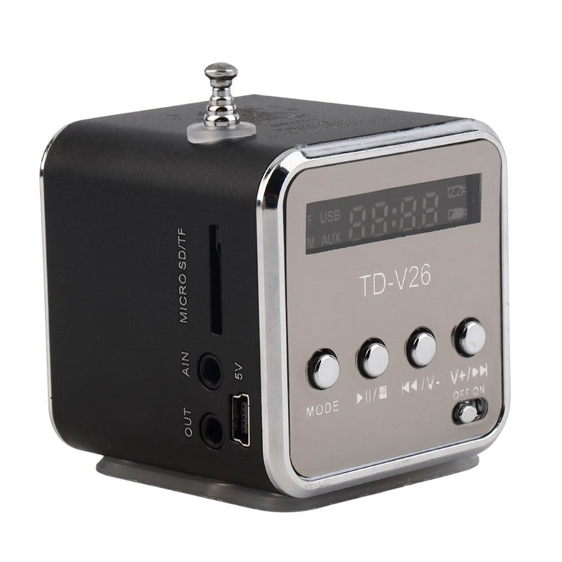 TD-V26 Only Love Portable Mini Support SD TF Card Micro USB Stereo Super Bass Speaker MP3/4 Music Player FM Radio Display IB