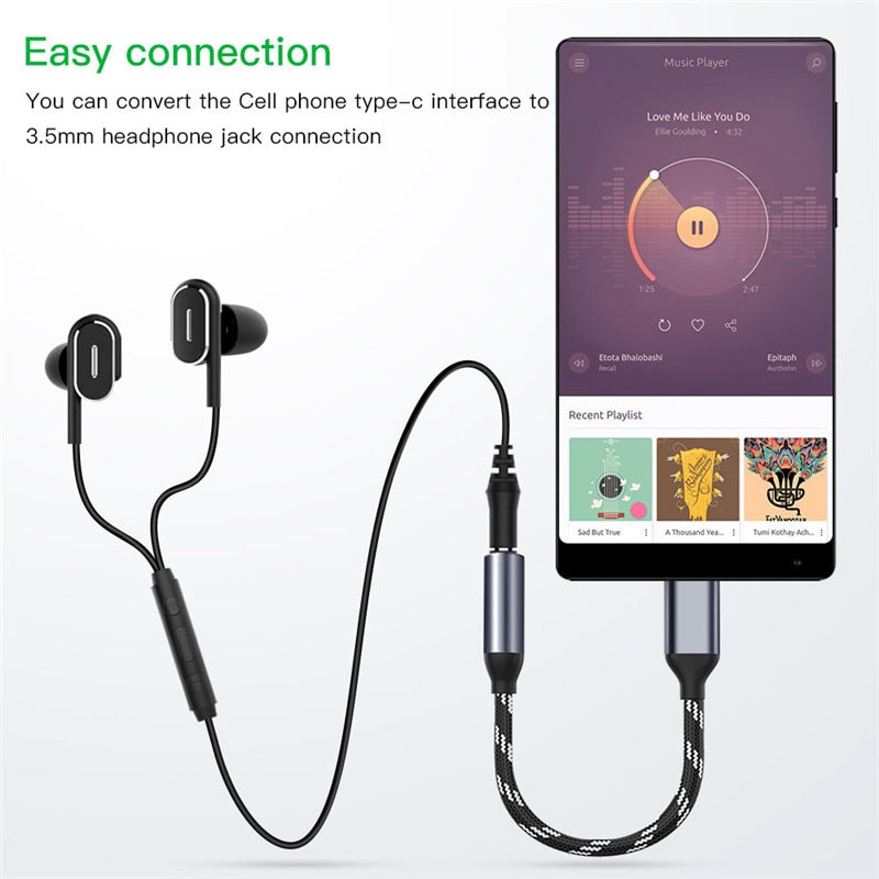 Type C to 3.5mm Jack Earphone Converter USB Type-C 3.5 AUX Headphone Adapter for Phone Samsung Huawei Mate 20 Xiaomi USB C Audio Cable
