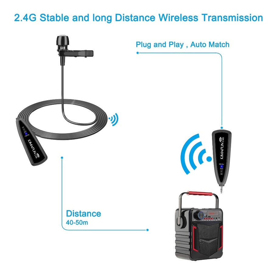 2.4G Wireless Lavalier Lapel Microphone Collar Clip-on Mic for Phone Recording Iphone Android Youtube