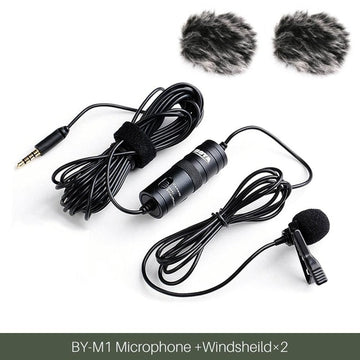 3.5mm Audio Video Record Lavalier Lapel Microphone Clip On Mic for iPhone Android Mac DSLR Camera Podcast Camcorder BY-M1 r