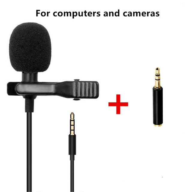 Mini Portable Microphone Condenser Clip-on Lapel Lavalier USB Mic Wired Mikrofo/Microfon External Buttonhole for Phone Camera for Laptop 1.5m