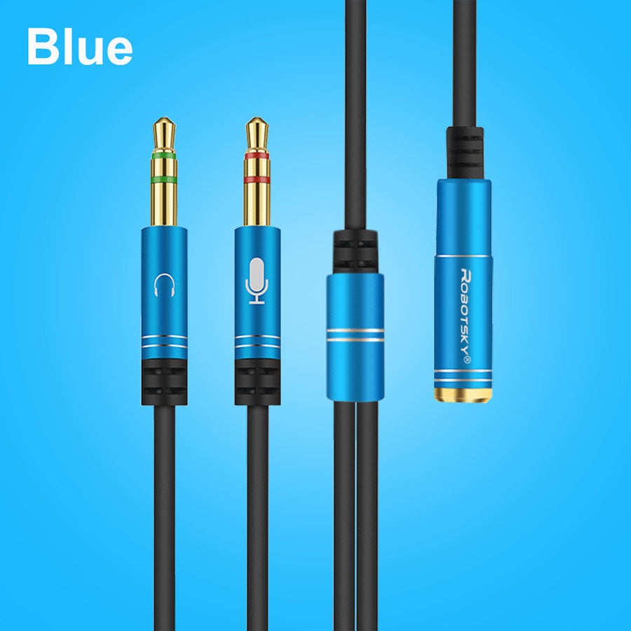 3.5mm Jack Audio Splitter Cable Female to 2 Male for Microphone Headset  Headphone Mic Aux Extension Cables Phone Computer Cabo