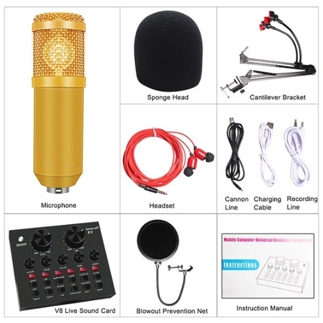 V8 Audio Headset Microphone BM-800 Professional Condenser Karaoke Microphone  Audio Cable Wired Microphone for Computer