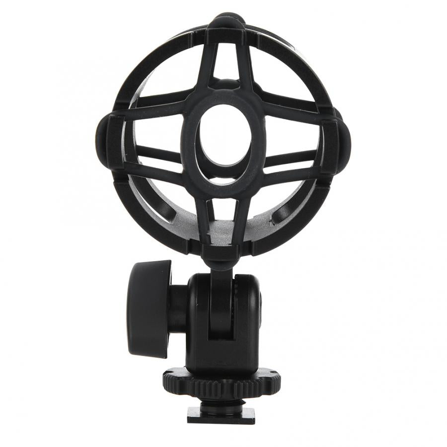 Universal Microphone Mount Holder with Cold Shoe Plastic Mic Stand Shock-proof Clamp for Camera Shoes 3/8 inch Screw