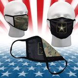 United States Army Double Sided Cotton Face Mask Covering Camo on Back