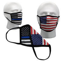 2 Sided Reversible American Flag Mask w/ Thin Blue Line Flag Backside