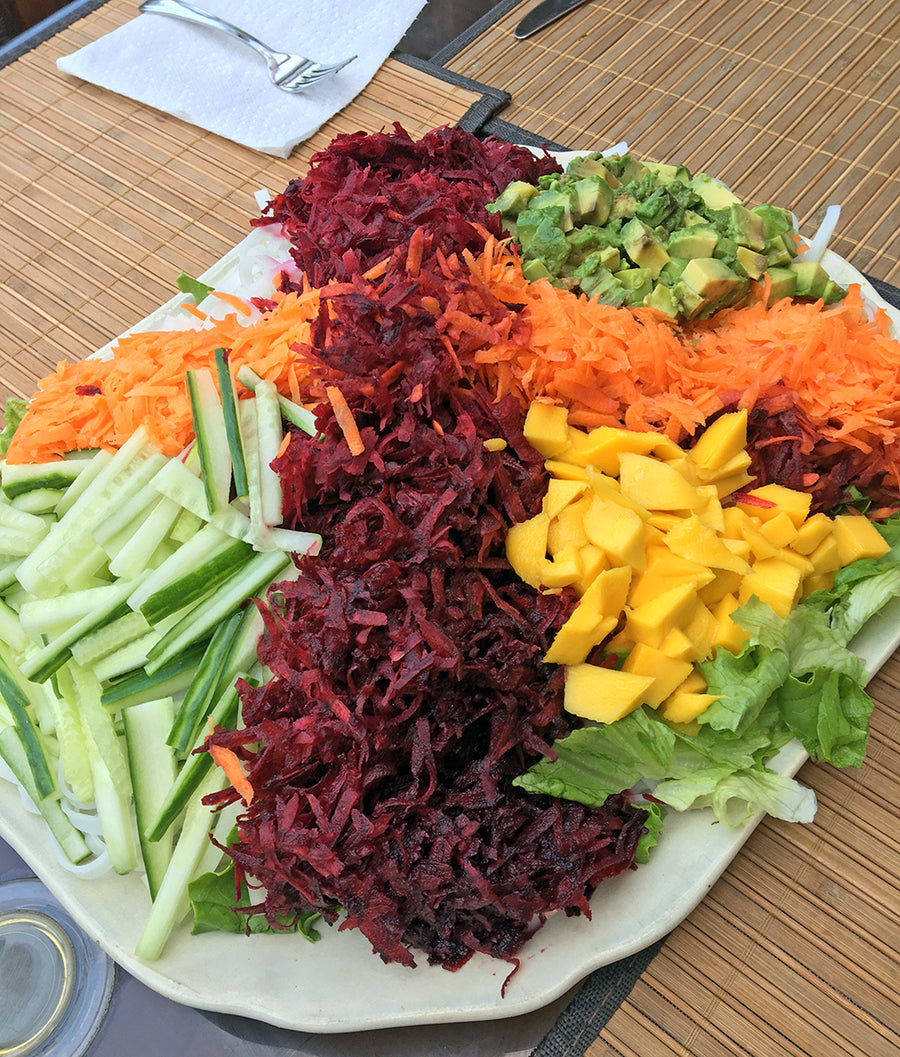 Rainbow Salad with Turmeric Ginger Dressing