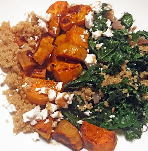 Roasted Sweet Potatoes with Kale and Quinoa