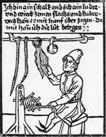 A medieval picture of a roper. The ropemaker is spinning hemp fibers.