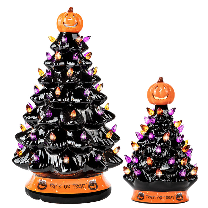 RJ Legend 15-INCH + 9-INCH Black Ceramic Decoration Tree Bundle, Cordless with Multicolor LEDs