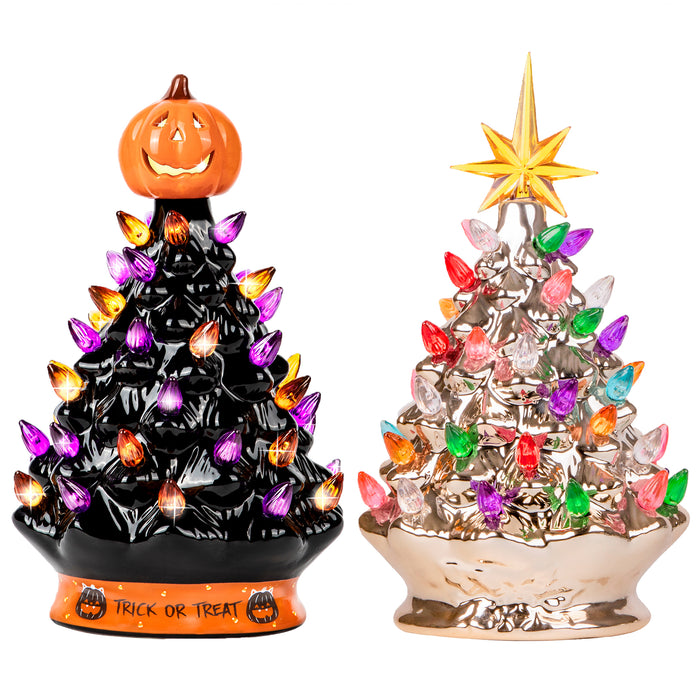 RJ Legend 15-INCH + 9-INCH Ceramic Decoration Tree Bundle, Cordless with Multicolor LEDs - Halloween Series