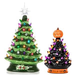 RJ Legend 15-INCH + 9-INCH Ceramic Decoration Tree Bundle, Cordless with Multicolor LEDs - Christmas Series