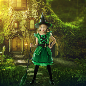 RJ Legend Green Witch Costume for Girls - Fun Dress Up Cosplay Witch for Little Girls