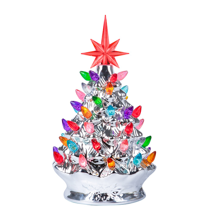 RJ Legend  9.6-Inch Silver Christmas Mini Ceramic Tree – Festive Lighted Christmas Tree Décor – Vintage Tabletop Christmas Decorations – Retro Winter Tree - Shiny Holidays Décor