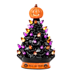 RJ Legend 9-Inch Ceramic Halloween Tree Decoration – For Indoor & Outdoor Use - 35+ Multicolor Orange and Purple LED Bulbs Halloween Tree – Handcrafted & Hand Painted – Glossy Premium Finish