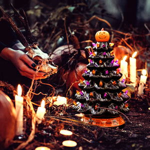RJ Legend 15-Inch Ceramic Halloween Tree Decoration – For Indoor & Outdoor Use - 50+ Multicolor Orange and Purple LED Bulbs Halloween Tree – Handcrafted & Hand Painted – Glossy Premium Finish