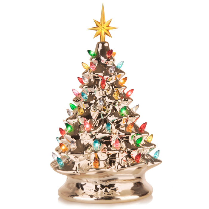RJ Legend 15-Inch Champagne Gold Ceramic Tree – Festive Lighted Christmas Tree Décor – Vintage Tabletop Christmas Decorations – Retro Winter Tree - Shiny Holidays Décor