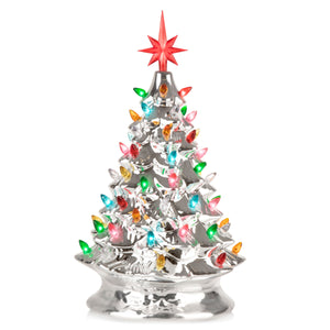 RJ-CER-SIL-L RJ Legend Christmas Mini Ceramic Tree