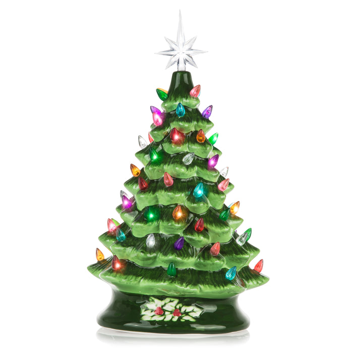 RJ Legend 15-Inch Green Ceramic Christmas Tree – Decorative Christmas Tree with Lights – Hand Painted Pre-Lit Holiday Centerpiece - Multicolored Bulbs & 7 Point Star Topper – Elegant Design