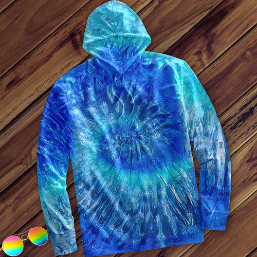 Blue Jerry Hand Dyed Long Sleeve Hoodie Hoodie Colortone M