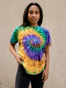 Mardi Gras Hand Dyed Tee T-Shirt Print Your Cause