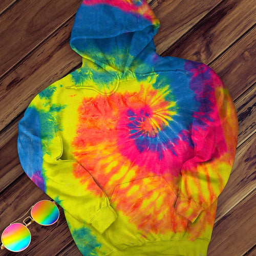 Neon Rainbow Hand Dyed Pullover Hoodie Pullover Hoodie Colortone M