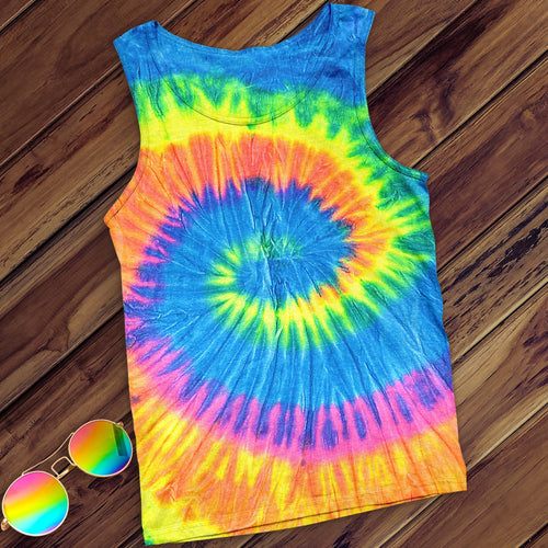 Neon Rainbow Hand Dyed Tank Top Tank Top Colortone M