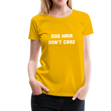 Load image into Gallery viewer, Women's Premium T-Shirt - Dog Hair Don't Care - sun yellow