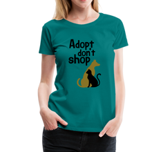 Load image into Gallery viewer, Women's Premium T-Shirt - Adopt Don't Shop - teal