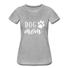 Load image into Gallery viewer, Women's Premium T-Shirt - Dog Mom (White Ink) - heather gray