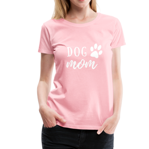 Women's Premium T-Shirt - Dog Mom (White Ink) - pink