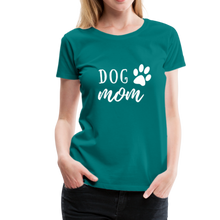Load image into Gallery viewer, Women's Premium T-Shirt - Dog Mom (White Ink) - teal